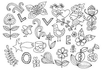 Black and white hand drawn design element.