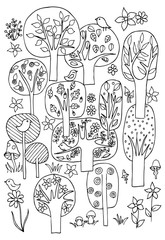 Set of doodle trees and birds in black and white. Forest trees pattern