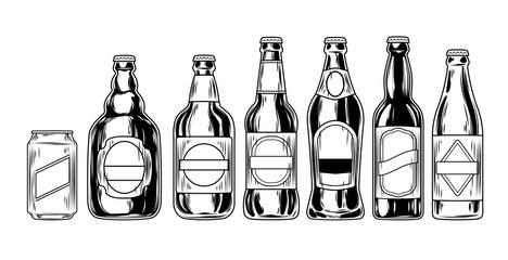 Set icons of beer bottles