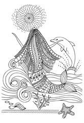 Page for coloring book with dolphin and mermaid