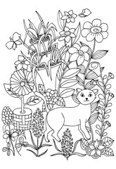 Coloring page with cat, flowers and butterflies for coloring book.