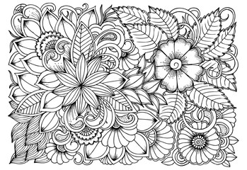 Black and white flower pattern for coloring. Doodle floral drawing. Art therapy coloring page. Relaxing for all ages. For adults and kids