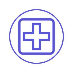 hospital, cross circular line icon. Round sign. Flat style vector symbol