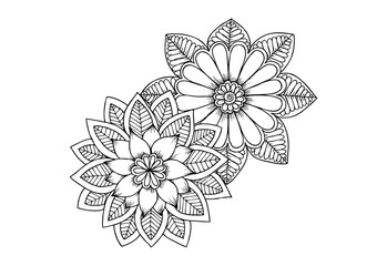 Black and white flowers as design element.