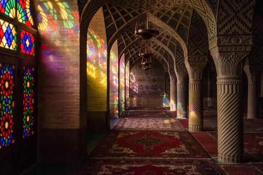Nasir al-Mulk mosque also called Pink Mosque, Shiraz, Iran.