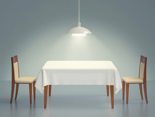 Room with wooden table, two chairs and pendant lamp