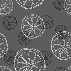 Seamless PATTERN with contour white and black the lemon slices on gray background