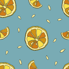 Seamless PATTERN with lemons on a blue background
