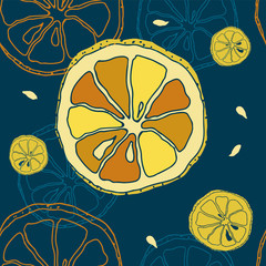 Seamless PATTERN with slices of lemons on a blue background