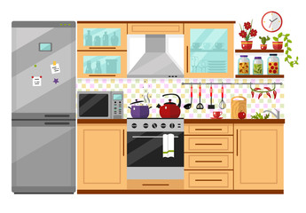 Flat design vector illustration of kitchen interior with utensils, food and devices. Including icons of fridge, oven, microwave, kettle, pot, whisk, pan, home canned vegetables. Isolated on white.