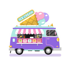 Flat design vector illustration of ice cream car. Mobile retro vintage shop truck icon with signboard with big ice cream cone. Side view, isolated on white background.