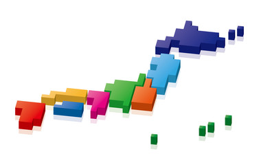 日本地図 ピクセル