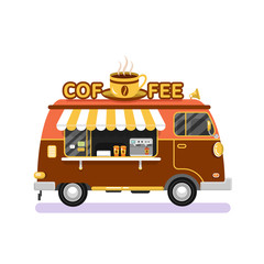 Flat design vector illustration of brown coffee van. Mobile retro vintage shop truck icon with signboard with big cup of coffee. Side view, isolated on white background. Hot drinks on wheels concept.