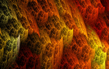 Abstract yellow and orange pattern on the dark  background. Fractal