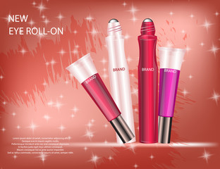 Glamorous Set of tubes with lip gloss and eye roll-on on the  sparkling effects background