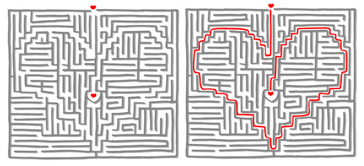 Maze labyrinth game vector. Solution is a Heart