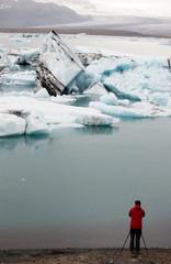 Fotografo sul ghiacciaio, Islanda