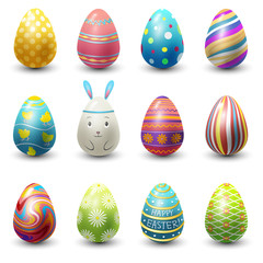 Easter eggs painted with spring vector illustration isolated on white