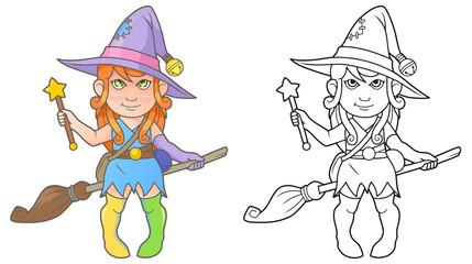 cute cartoon witch coloring book