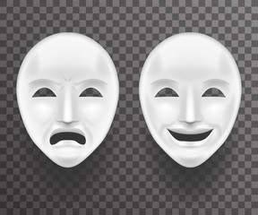 Theatrical Mask Sadness and Joy White Actor Play Face Antique Realistic 3d Transperent Icon Template Background Mock Up Design Vector Illustration