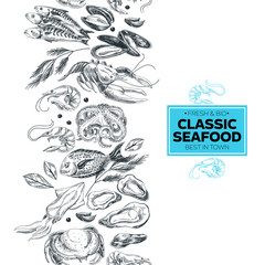 Vector hand drawn sea food Illustration.