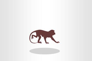 Illustration of monkey, side view walking
