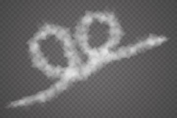 Set of vector condensation trails. Smoke