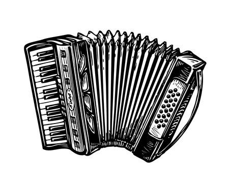 Hand-drawn vintage accordion, bayan. Music instrument, chanson, melody symbol. Sketch vector illustration