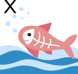 "Vector illustration animals with a letter of the alphabet. X-ray fish for the letter ""x""."
