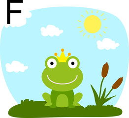 Vector illustration of a frog in a clearing with a letter of the alphabet F
