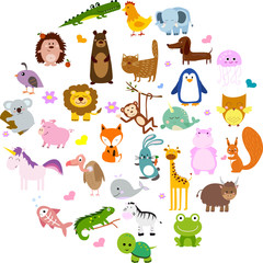 Vector illustration of cute animals and birds: alligator, Fox, giraffe, bear, cat, dog, elephant, frog, chicken, Zebra, turtle, rabbit, iguana, monkey, whale, unicorn, Koala, penguin