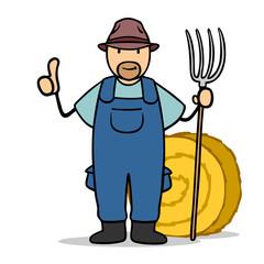 Bauer Landwirt Farmer hält Daumen hoch
