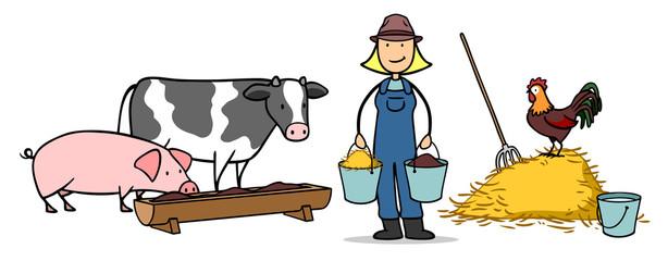 Bäuerin füttert Tiere auf Bauernhof
