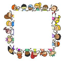 Kinder bilden Quadrat als Rahmen