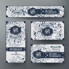 Corporate Identity vector templates set with doodles Sport theme
