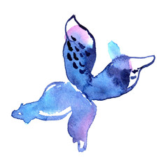 Watercolor butterfly in blue colors