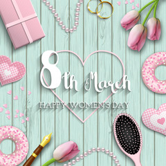 International women's day, 8th march, text on blue wooden background, illustration