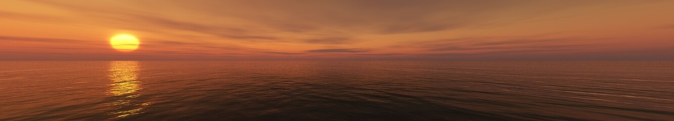 Panorama of sea sunset light over the water, 3d rendering