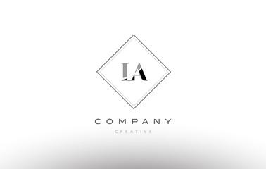la l a  retro vintage black white alphabet letter logo