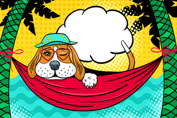 Cute dog in panama and glasses in the shape of a heart lying in a hammock between palm trees on the beach, winking and smiling.Vector illustration in retro comic style. Vector pop art background.