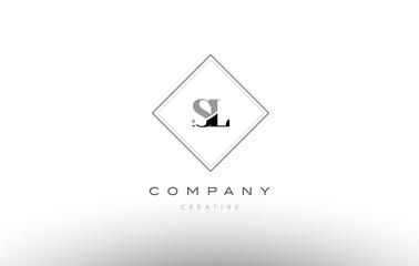sl s l  retro vintage black white alphabet letter logo