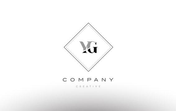 yg y g  retro vintage black white alphabet letter logo