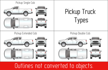 TRUCK pickup types template drawing vector outlines not converted to objects