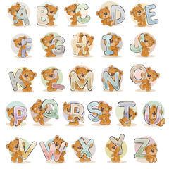 Set vector letters of the English alphabet with funny teddy bear