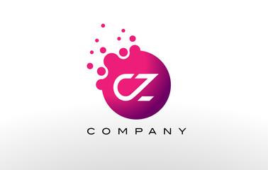 Fototapeta CZ Letter Dots Logo Design with Creative Trendy Bubbles. obraz