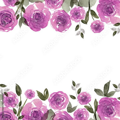 Cute Watercolor Flower Background With Roses Invitation Wedding Card Birthday Card Stock