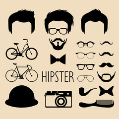 Big vector set of dress up constructor with different men hipster haircuts, glasses, beard etc. Flat faces icon creator.