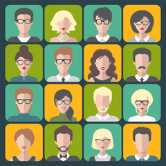 Vector set of office team images in trendy flat style. Collection of different businessman app icons in glasses.
