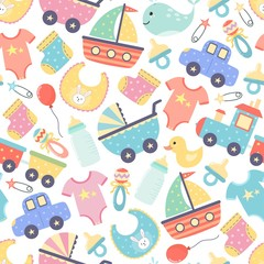 Cute baby shower seamless pattern