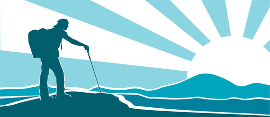 Vector silhouette of hiker with backpack and hiking pole on mountain top observing the landscape on stylized sunrise background. Illustration